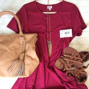 LuLaRoe Carly TShirt Dress Size Large NWT Wine